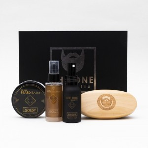 Coffret The Barber Kit Goldy (Huile, Shampooing, Baume parfumé et Brosse à Barbe) - The One